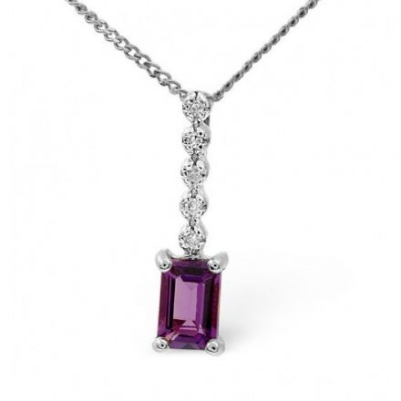 9K White Gold 0.10ct Diamond & 0.50ct Amethyst Pendant, E2718